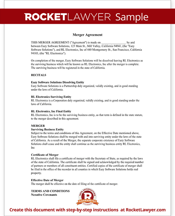 Merger agreement form merger agreement template with for Merger agreement template