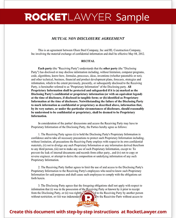 Mutual non disclosure agreement nda template mutual for Mutual will template