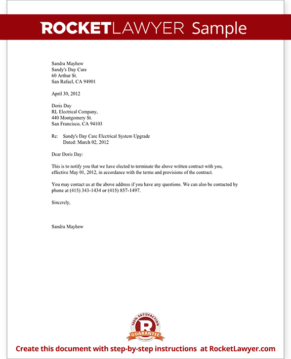 Notice Of Termination Of Contract Notice Letter With
