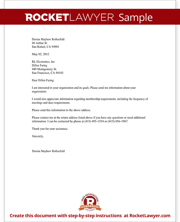 letter requesting information about an organization