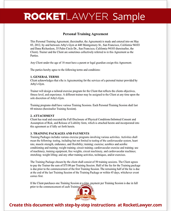 Personal trainer forms personal training contract for Personal trainer contract templates