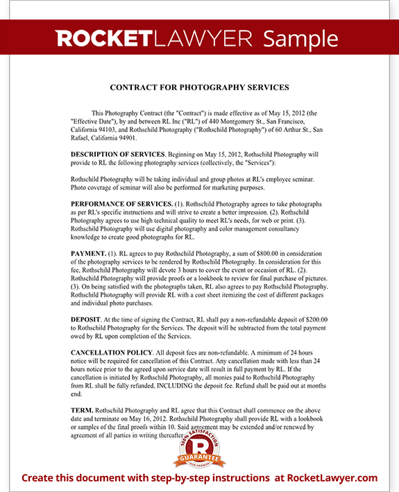 Photography contract template for weddings portraits events for Photographer contracts templates