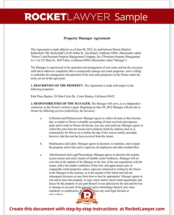 Property management agreement form free template with sample for Facilities management contract template