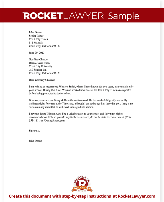recommendation letter template for scholarship job