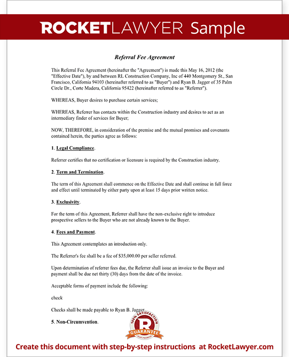 Referral fee agreement template form with sample for Referral document template