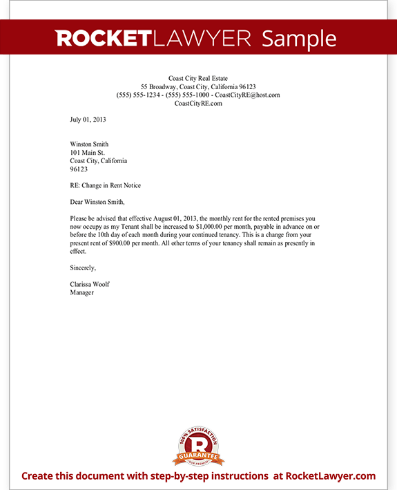 Rent Increase Letter with Sample   Notice of Rent Increase Template 4UODWIMq