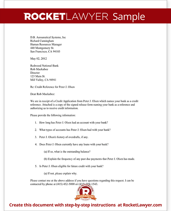 bank reference letter template