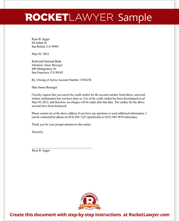 Credit Card Cancellation Letter
