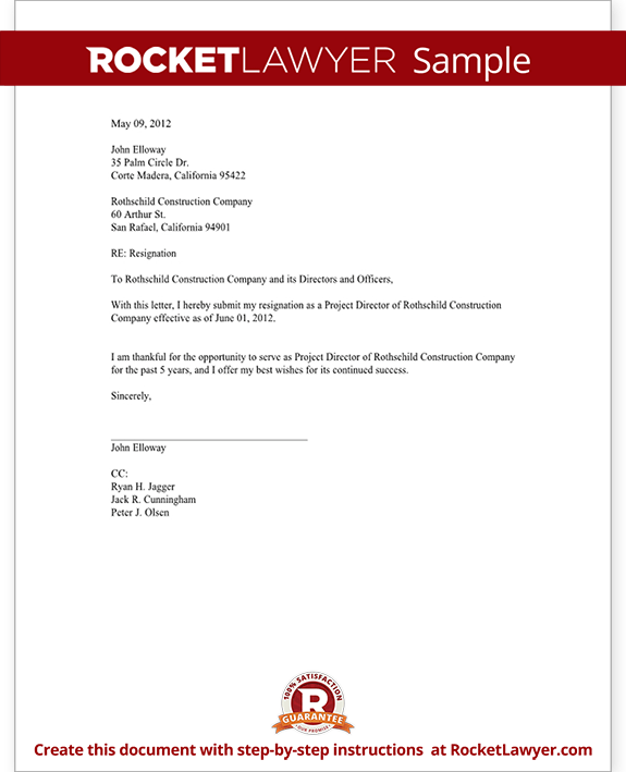 End Of Contract Resignation Letter Sample - Resume Layout 2017