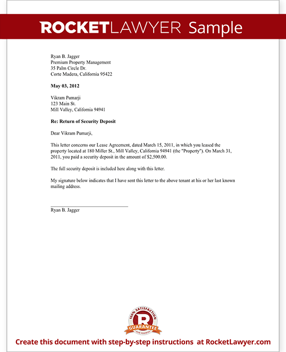 Security Deposit Return Letter Form Template