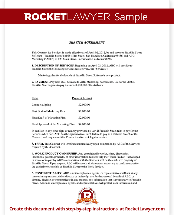 Service agreement contract template with sample for Service provider agreement template free
