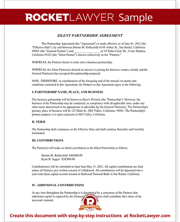 Silent partnership agreement template with sample for Corporate partnership agreement template