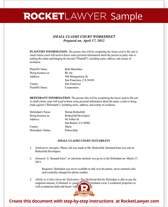 Small Claims Worksheet (Template With Sample