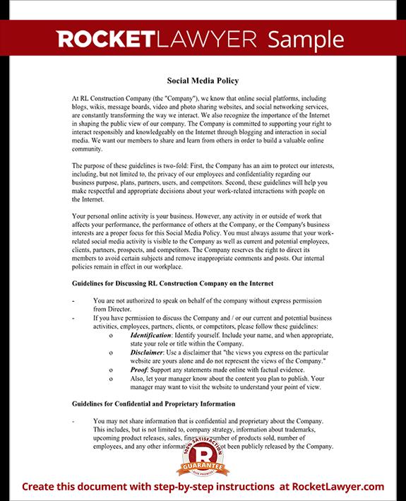Nonprofit Social Media Intern Job Description Social Media - Marketing policy template