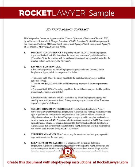 Staffing agency agreement staffing agency contract for Temporary employment contract template free