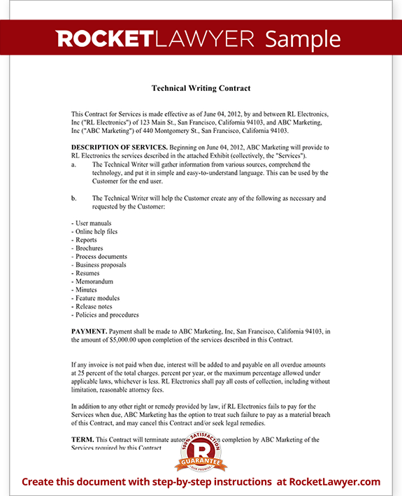Technical Writing Contract Agreement Form With Sample