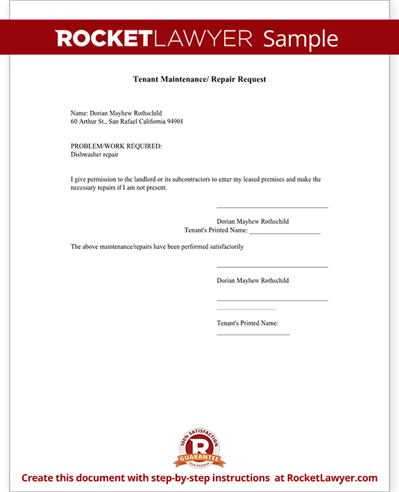 Tenant Maintenance Request Form Template Test
