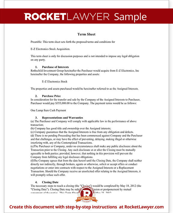 Term Sheet Template - Free Term Sheet (with Sample)
