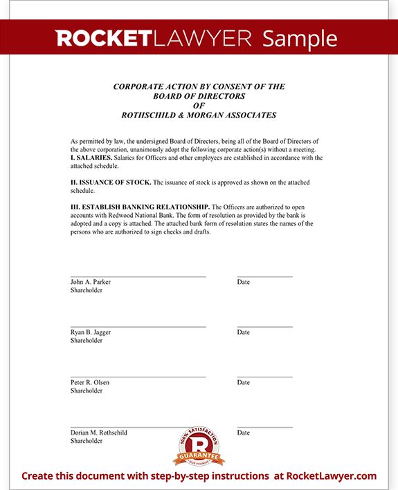 Unanimous Consent Form Template