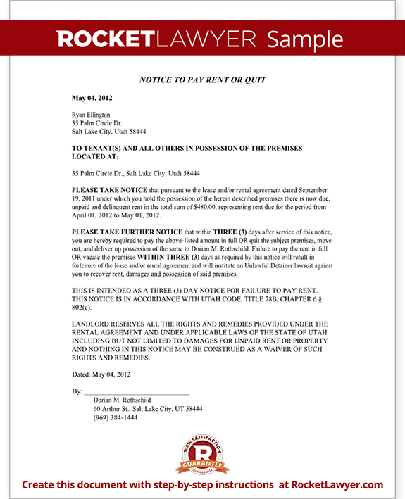 Eviction notice utah 3 day notice to pay rent or quit for Notice to pay rent or quit template