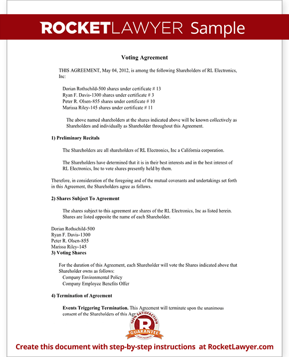 Voter Agreement Form Template