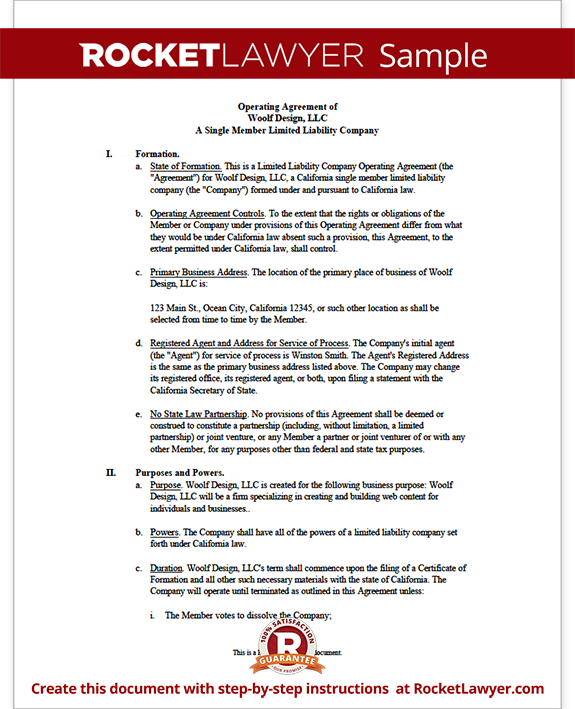 operation agreement llc template - single member llc operating agreement
