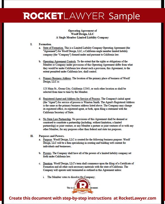 Sample Llc Operating Agreement Template