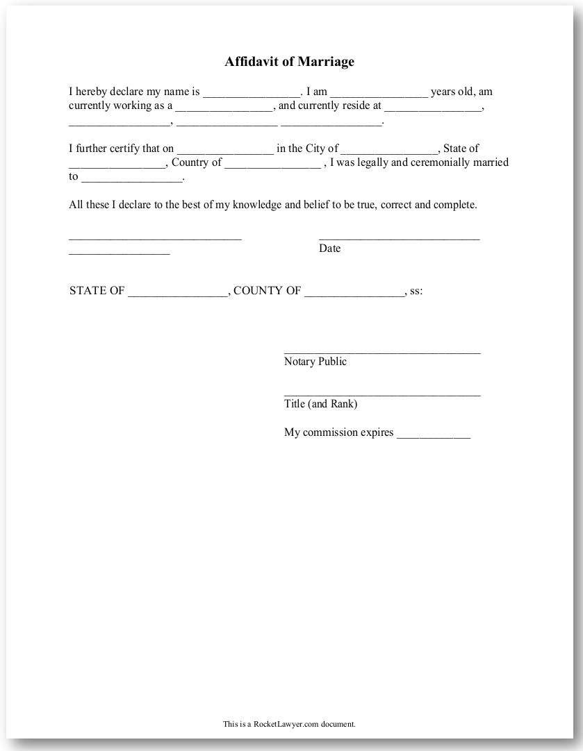 sample affidavit of marriage