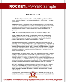 Sample Lease Agreement Form Template