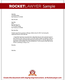 Letter Of Resignation Samples