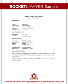 Partnership agreement template form with sample for Silent partner contract template