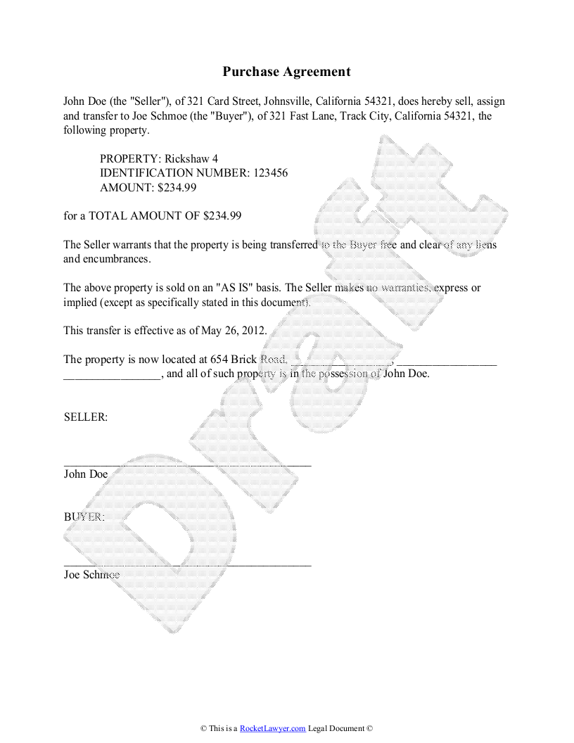 Purchase Agreement Template Free Purchase Agreement – Sample Purchase Agreement for Business