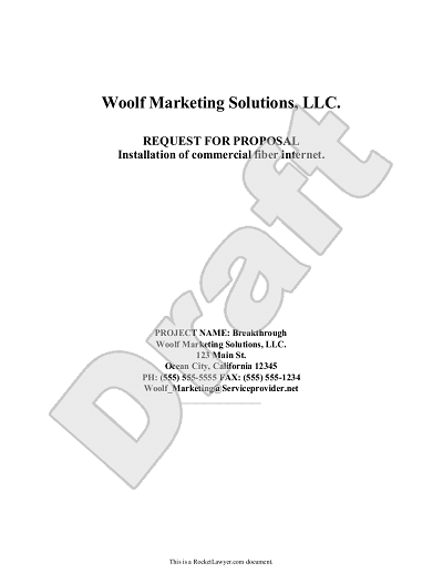 Request For Proposal Template Rfp Template With Example