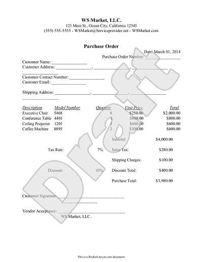 Purchase Order Template Create and Customize – Is a Purchase Order a Legal Document