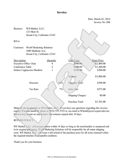Sample Invoice Example Invoice Document