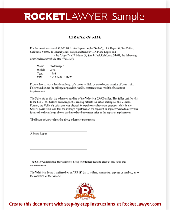 Bill of Sale Form - Free Template for Car, Boat, Motorcycle, etc.