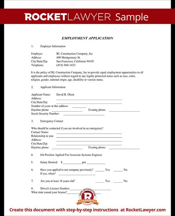 Job Application Form Blank Employment Application Template