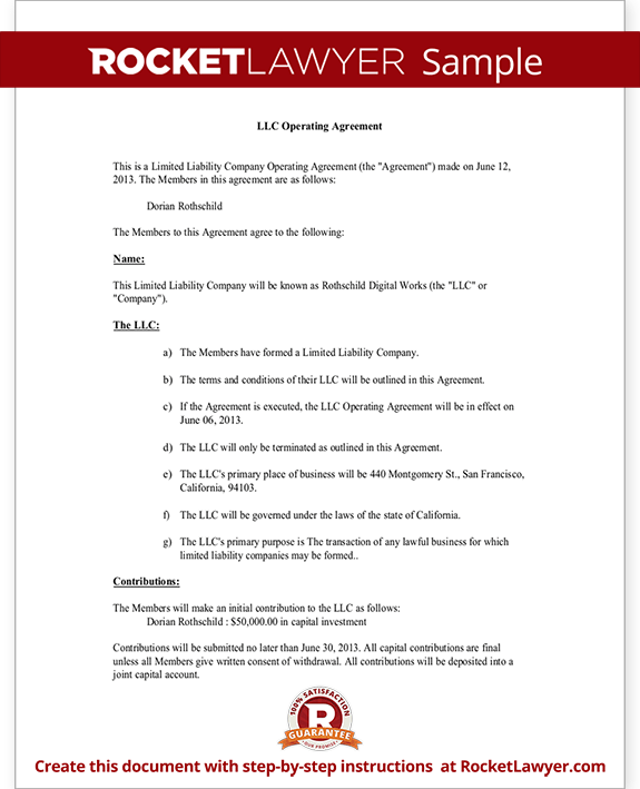 Llc operating agreement sample template for Florida llc operating agreement sample