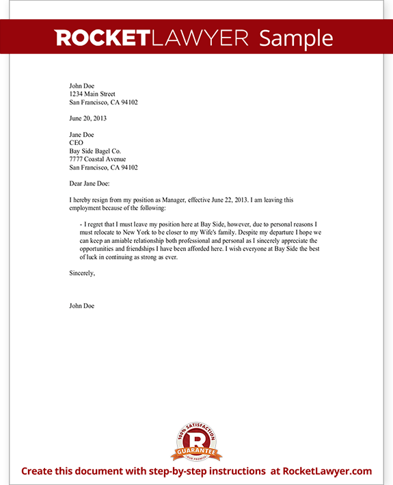 Resignation Letter - Write a Letter of Resignation with Sample