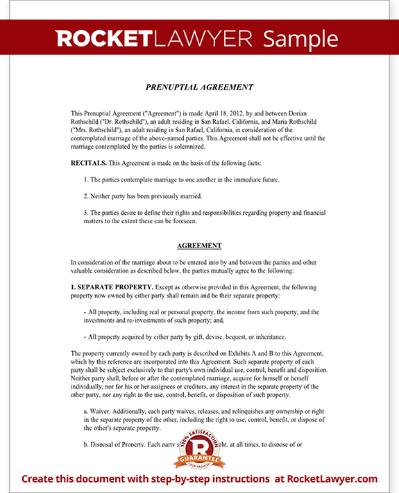 Prenuptial Agreement Form - with Sample Prenup Agreement