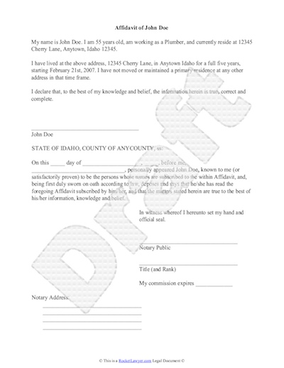 Sample Affidavit Free Sworn Affidavit Letter Template Format – Affidavit Sample Format