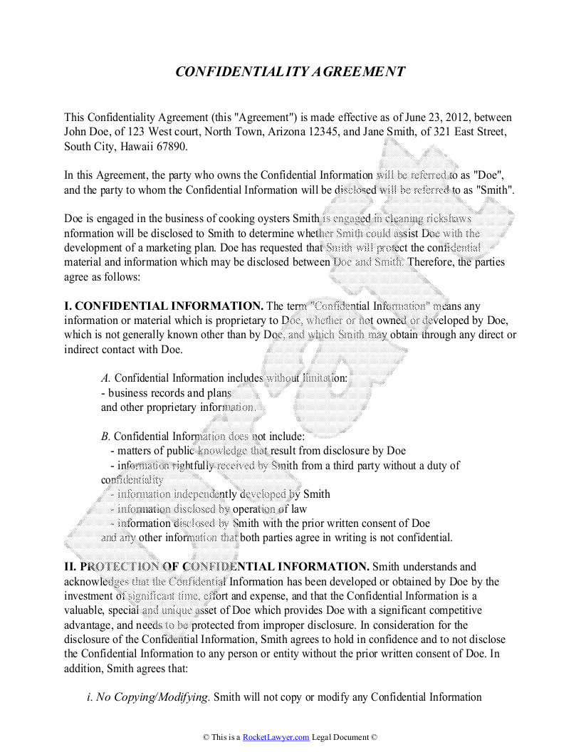 Confidentiality Agreement Template - Free Sample Confidentiality ...