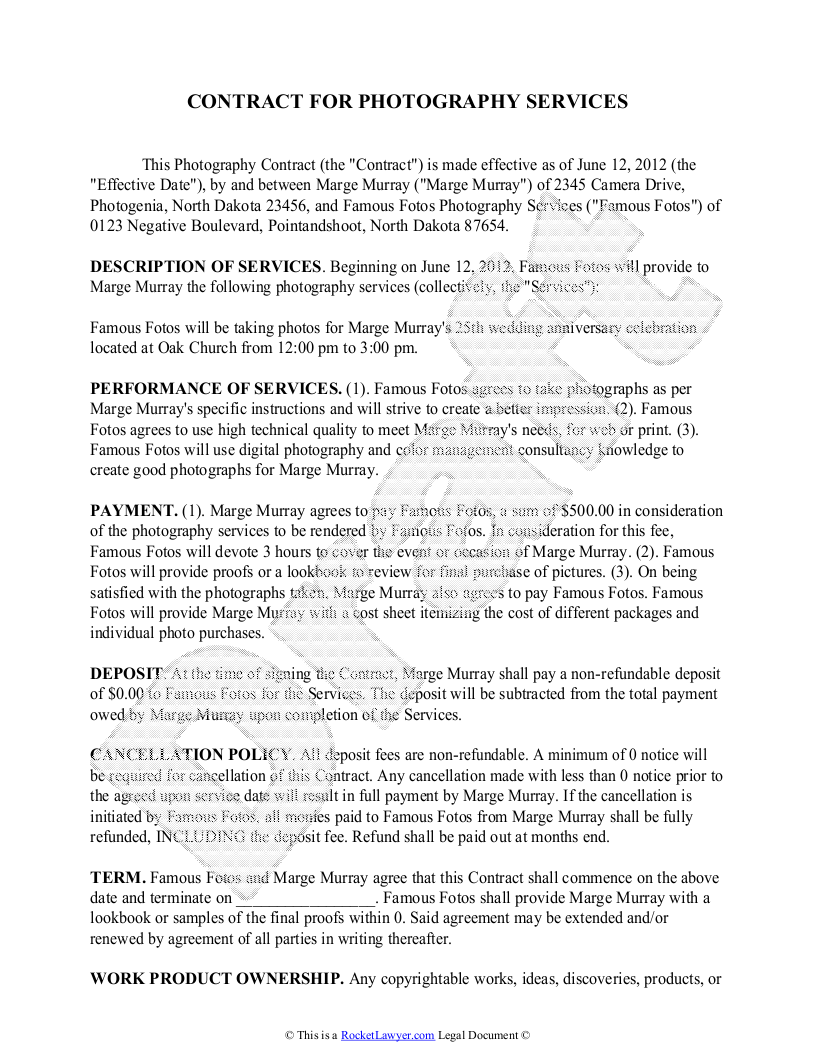 Photography Contract Template Free Sample for Wedding Portrait – Event Agreement Template