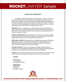 Sample Sublease Agreement Form Template