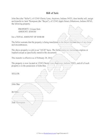 bill of sale used car template