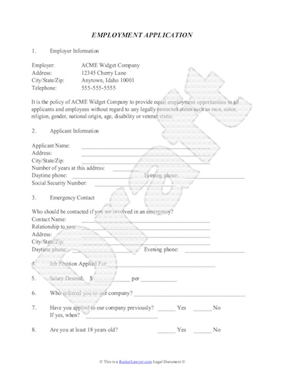 Generic Employment Application. Simple Application For Employment