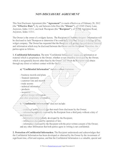 Free Confidentiality Agreement Non Disclosure Agreement Template