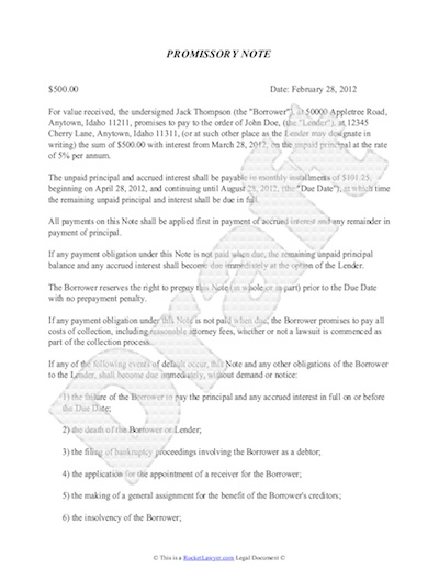 Promissory Note Template For Promisary Note Template