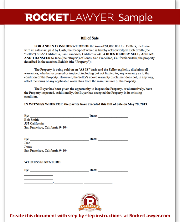 Bill Of Sale Form Free Template For Car Boat