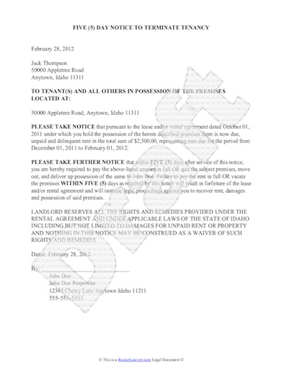 Sample Eviction Notice Intended Letter Of Eviction Notice